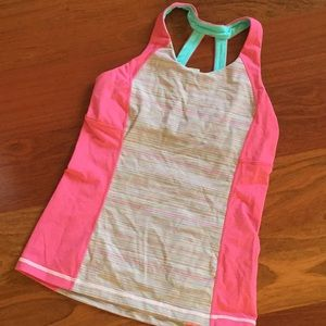 Ivivva tank top in pink with multicolor stripes